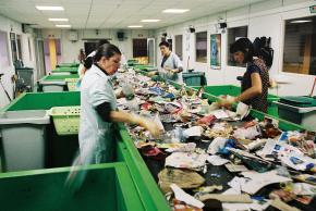 Des employés trient des déchets