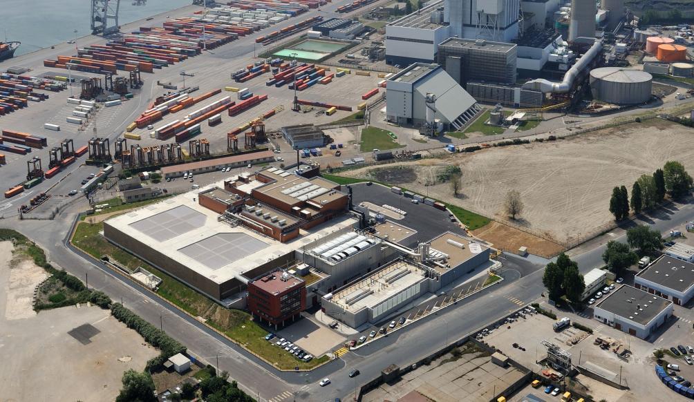 vue aérienne de la station d'épuration Edelweiss au Havre