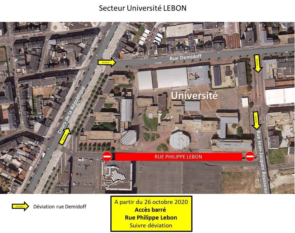 Carte de circulation autour du site Lebon
