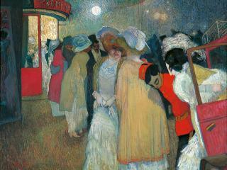 femmes en tenue de soirée devant le Moulin Rouge vers 1908-1909