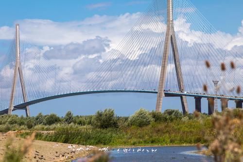 Le pont de Normandie et l'estuaire de la Seine